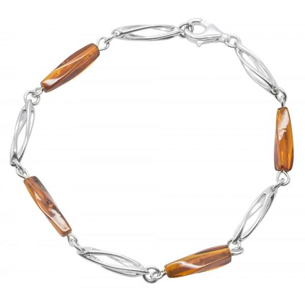 Bracelet en Ambre cognac et Argent 925/1000