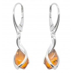 Earring with cognac amber pearl and Silver 925/1000