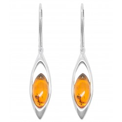 Natural cognac and silver 925/1000 amber earring