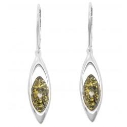Silber-Ohrringe und Bernstein Perle grün