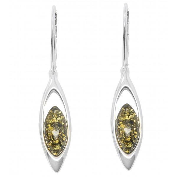 Boucle d'oreille Argent et perle d'Ambre couleur vert