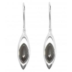Boucle d'oreille en Ambre naturel couleur cerise et Argent 925/1000