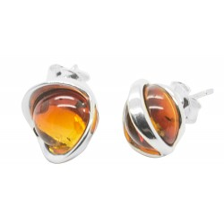 Silver and Amber natural honey earring - half sphere