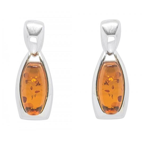 Boucle d'oreille Ambre cognac et Argent 925/1000