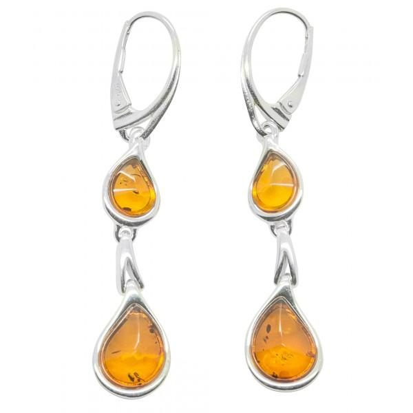 Boucle d'oreille en Argent 925/1000 et perle d'Ambre naturel