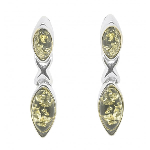 Boucle d'oreille Ambre vert et Argent 925/1000