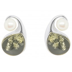 Pendientes ámbar y verde de la perla de la plata