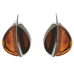Natural cherry and cognac amber earrings in the shape of a coffee bean