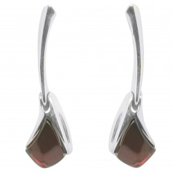 Cherry and silver 925/1000 amber earring