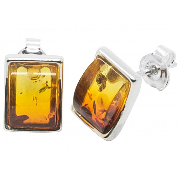 Boucle d'oreille rectangulaire Argent et ambre naturel