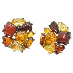 Silver 925/1000 earring and multicolored Amber pearl