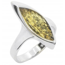 Green Amber and Silver Half Moon Ring