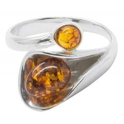 Bernstein Ring natürliche Cognac und Silber 925/1000 Blumenform