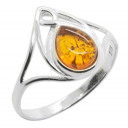 Cognac and Silver 925/1000 Amber Ring, Celtic Style