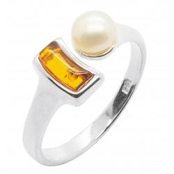 Anello Ambra cognac, perle naturali e argento 925/1000