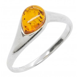 Ring in Amber cognac and Silver 925/1000
