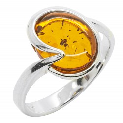 Ring in Amber cognac and Silver 925/1000, round shape