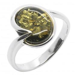 Ring grün Bernstein und Silber 925/1000, rund