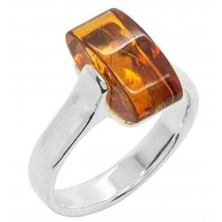 Bernstein Ring Cognac und Silber, rechteckiger Stein