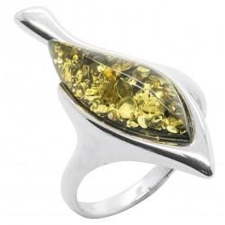 Anello in verde naturale ambra e argento 925/1000