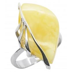 Ring royal Bernstein und Silber in Blattform