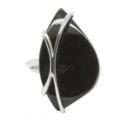 925/1000 Silver and Cherry Amber Ring - Adjustable Size