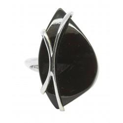 Bernstein-Ring Kirsche und Silber 925/1000 - Verstellbare Taille