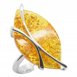 Modern silver and honey amber ring - adjustable size