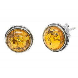 Silver earring and half sphere of honey amber