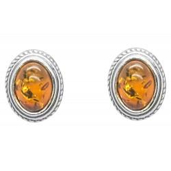 Ohrring-Silber und Cabochon Honig Bernstein