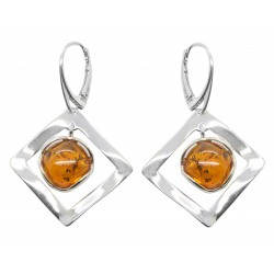Silver Square and Floating Amber Stone Earring