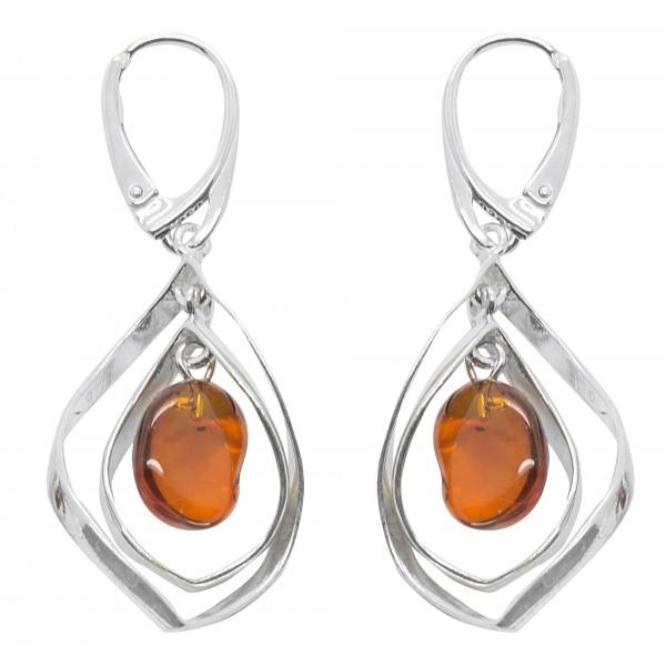 Moderne Boucle d'oreille Argent et perle d'ambre flottante