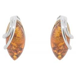 Orecchini cabochon ambra e argento