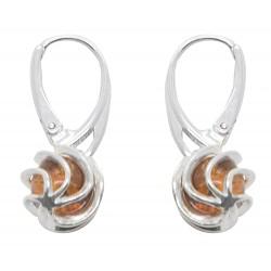 Orecchini ambra e argento griglia contorto