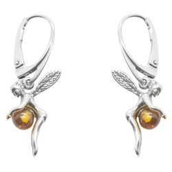 Silver Fairy and Amber Pearl earrings