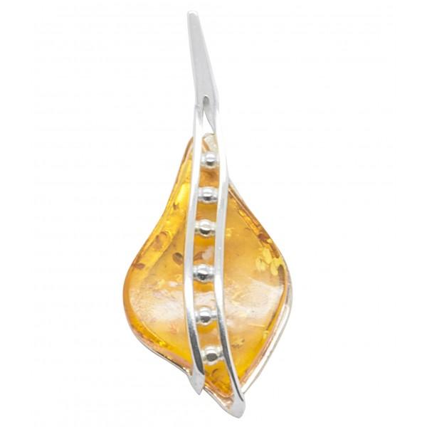 Pendentif d'argent et ambre couleur miel
