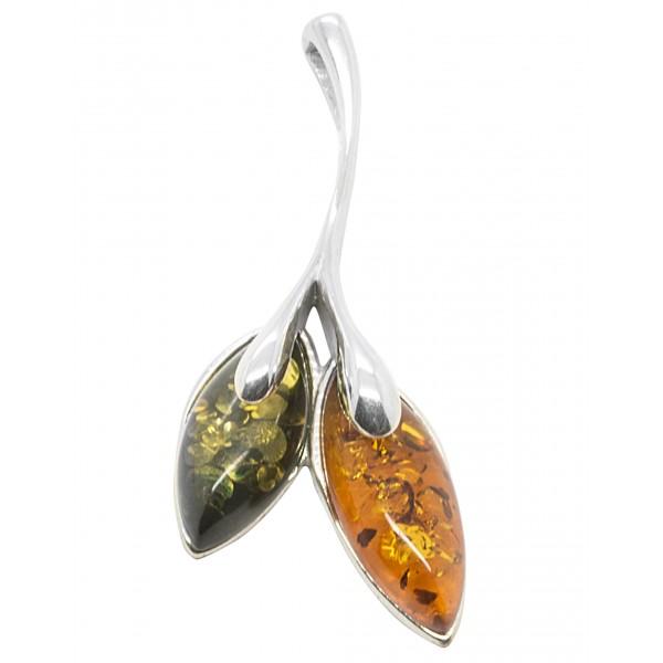 Pendentif ambre et argent 925/1000 en forme de fleur