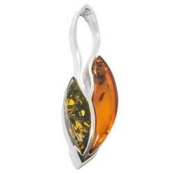 Silver and amber pendant coffee bean green / cognac