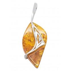 Pendentif en argent 925/1000 et ambre couleur miel