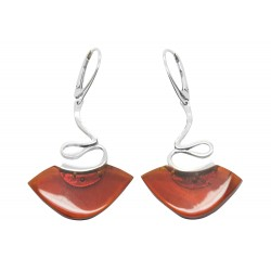 Silver and amber cherry amber earring