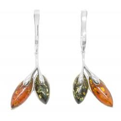 Ohrring Silber und Bernstein Honig und grün