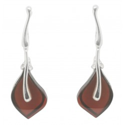 Cherry silver and amber earring