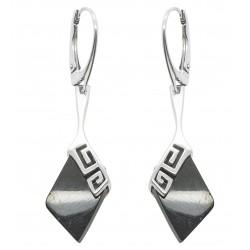 Pendiente de plata y ámbar forma de diamante de la cereza