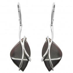 Orecchino ambra ciliegia e argento 925/1000