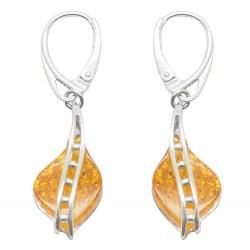 perla orecchino d'argento e il miele ambra