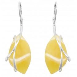 Boucles d'oreilles en ambre blanc et argent