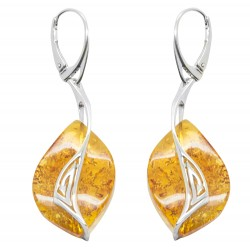 Ohrring Silber 925/1000 und Bernstein Honig