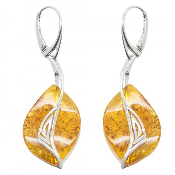Boucle d'oreille argent 925/1000 et ambre miel