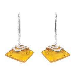 orecchino d'argento e ambra forma di losanga miele