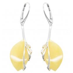 Silber-Ohrringe und Bernstein Königliche Blatt